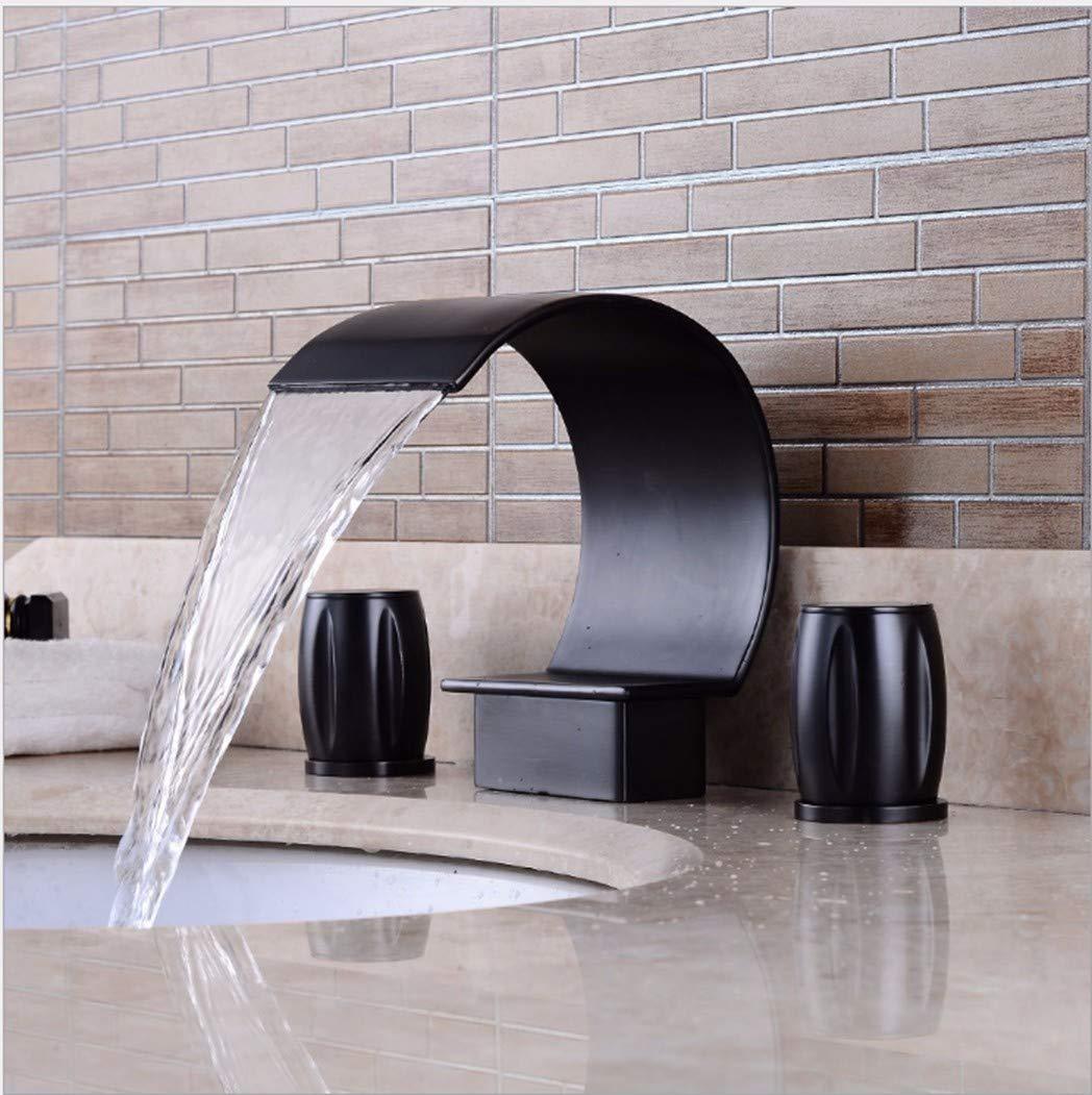 GiiWii Bad 3-Löcher Wasserfall Hahn Retro Kupfer Metall Für Waschbecken Kaltes Und Warmes Wasser Mischen Schwarz