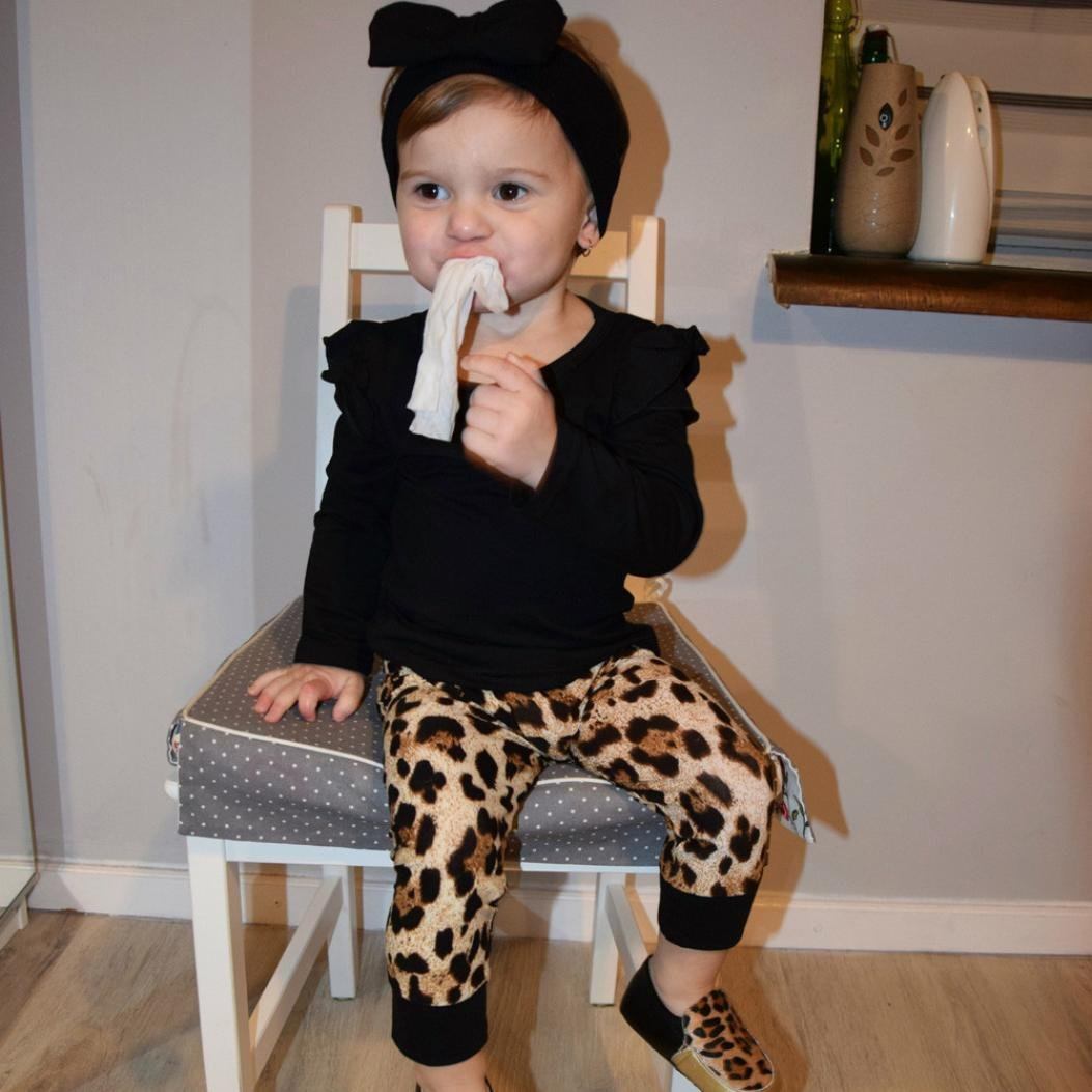 Baby M/ädchen Jungen Leopard Anzug Outfits Kleiderset Herbst Suit Babykleidung Tops + Hosen kleidung m/ädchen Kolylong/® 1 Set 3-24 Monate