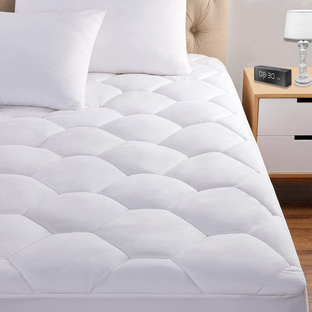 "Full Mattress Pad, 8-21"" Deep Pocket Protector Ultra Soft Quilted Fitted Topper Cover Breathable Fit for Dorm Home Hotel -White"