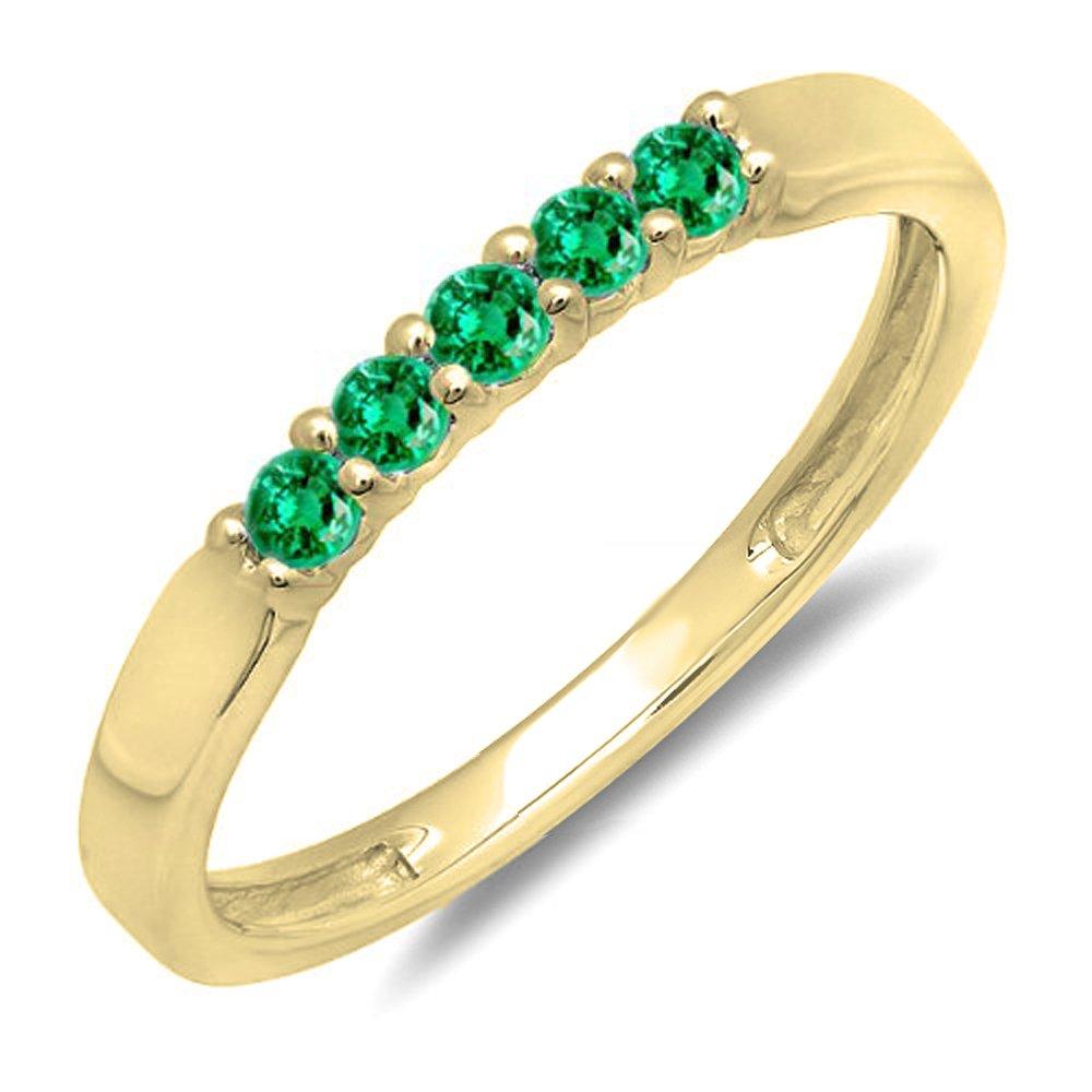 DazzlingRock Collection 0.25 Carat (ctw) 10K Yellow Gold Round Green Emerald 5 Stone Ladies Wedding Band 1/4 CT (Size 7)