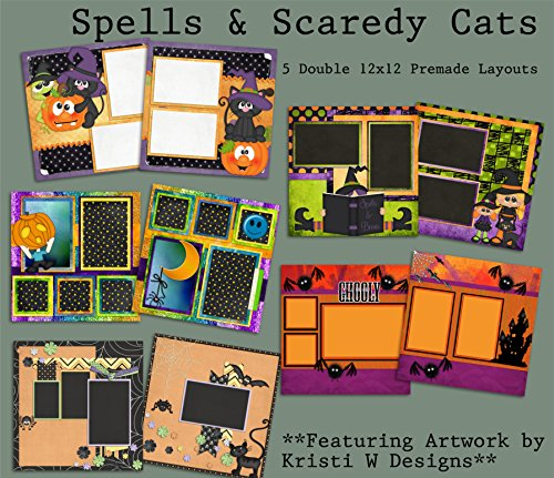 Spells and Scaredy Cats Scrapbook Set - 5 Double Page Layouts (12x12 Page Layout Scrapbooking)