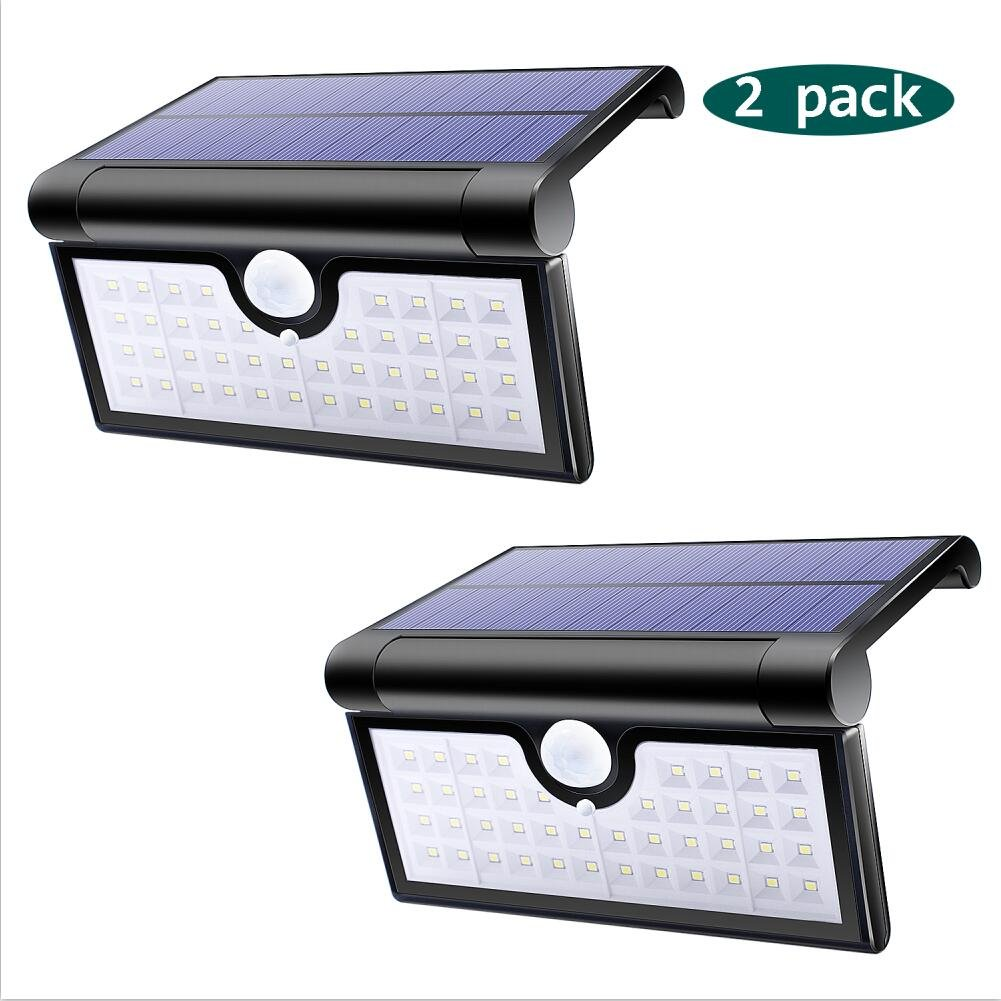Lalapao Solar Lights 42 LED 2 Pack Wireless Motion Sensor Wall Lights Outdoor Lighting Solar Powered Security Night Light Waterproof for Patio Deck Yard Garden Backyard Driveway Garage Porch