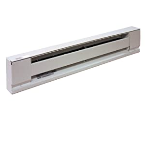 """TPI Corporation E2903-024SW Electric Baseboard Heater, Stainless Steel Element, 120 Volt, 375 Watts, 24"""" in Length, Thermostat Sold Seperately, White"""