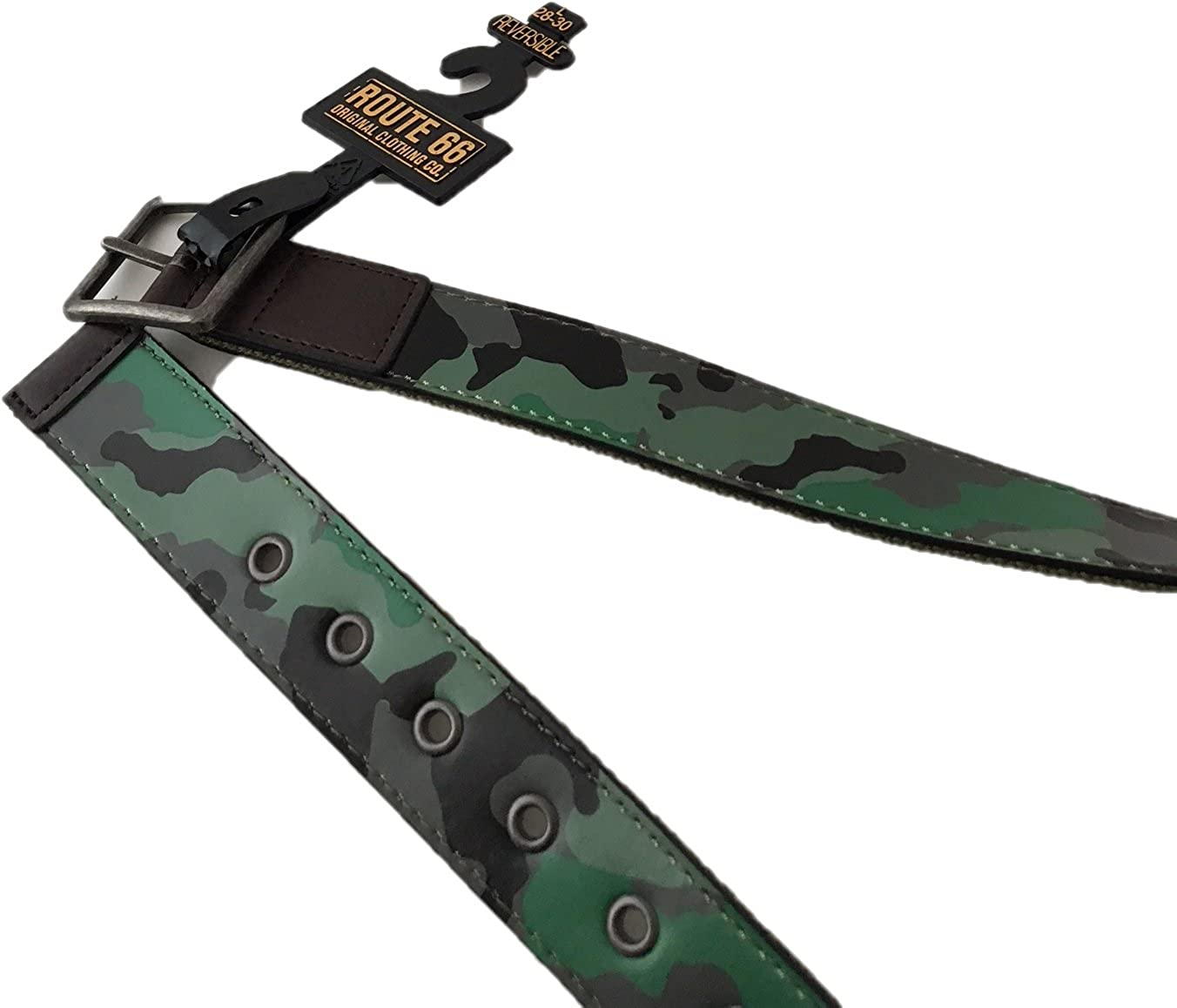 Route 66 Boys Reversible Belt L, 28-30 Green Camouflage