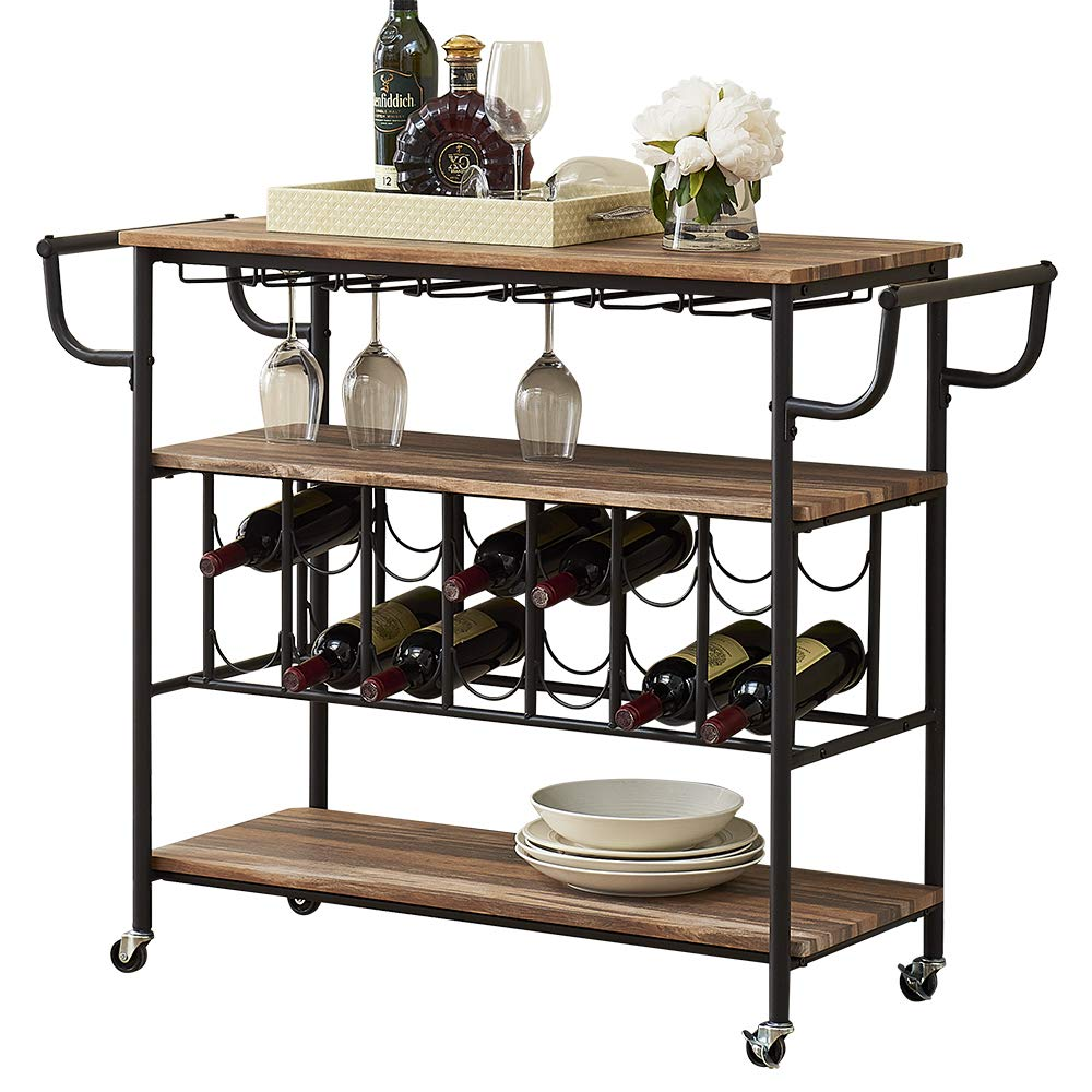HOMYSHOPY Industrial 3-Tierd Kitchen Serving Cart, Mobile Bar Cart with Stemware Holder and Wine Rack, Vintage Brown