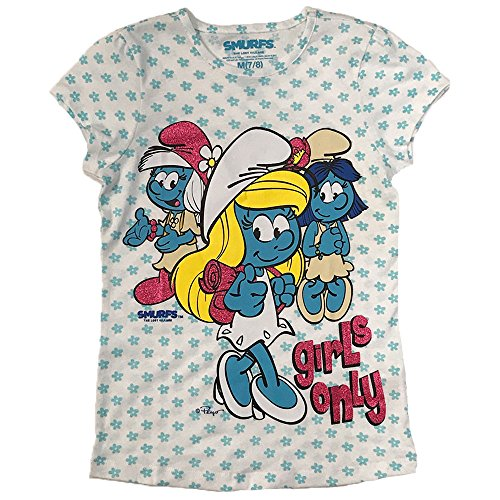 Smurfs Girls' Little Movie Graphic Ss Tee, White, Small -