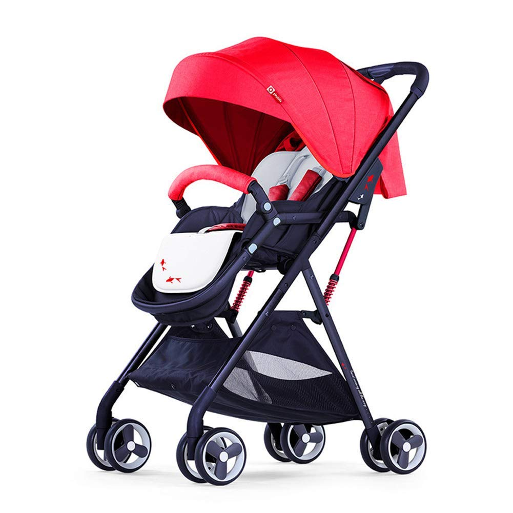 L.tsn Baby Stroller Ultra Light Pushchair Folding Simple Children's Trolley Can Sit Reclining High Landscape Pram Cart  Red B07TLM75TK