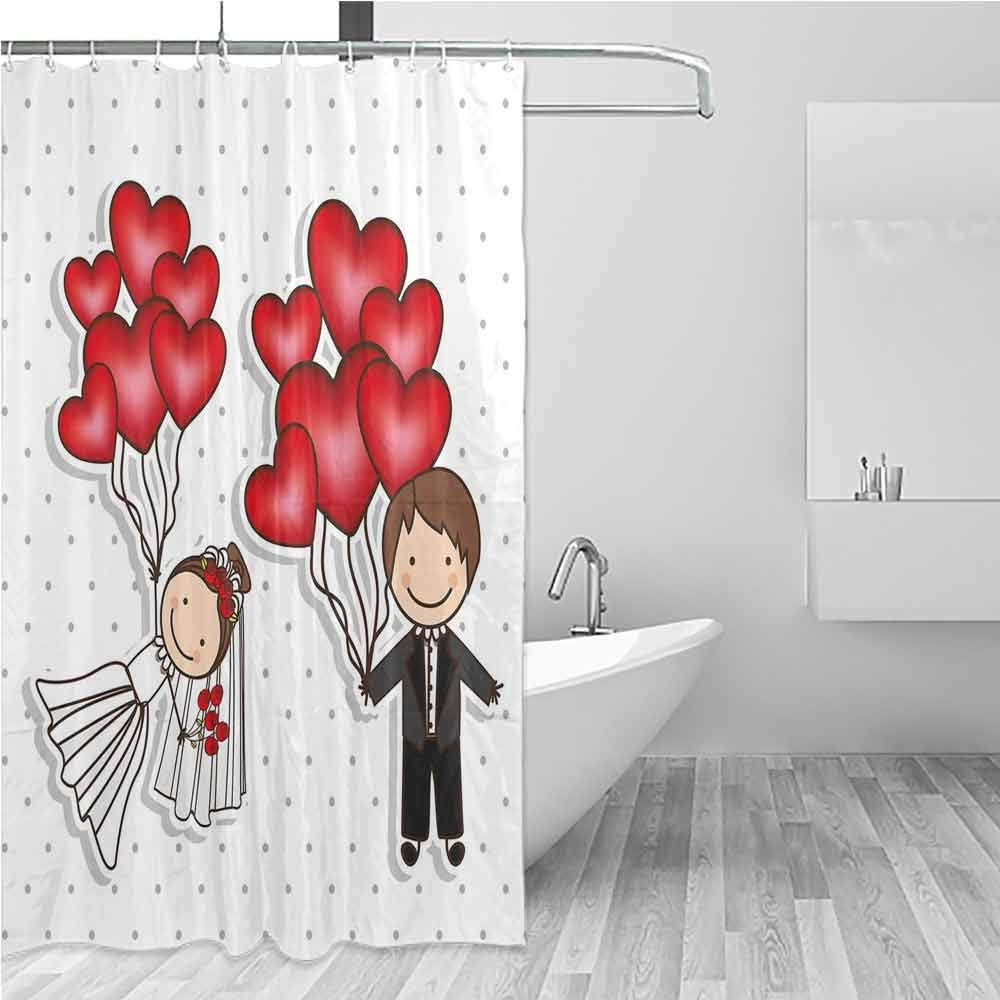 Shower Curtain with Hooks,Wedding,Waterproof Colorful Funny,W108x72L Red White Black by BE.SUN
