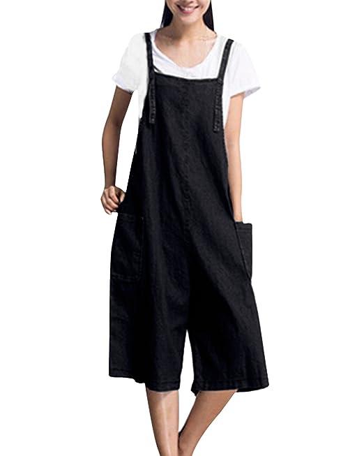 StyleDome Mujer Chicas Peto Vaquero Mono Largo Casual Elegante Moda Bolsillos Tiras Fiesta Oficina Negro EU
