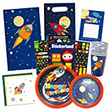 Space Party Supplies Outer Ultimate Set - Spaceship Birthday Party Decorations, Plates, Cups, Napkins, Party Favors Bags and More (Rocket Theme)