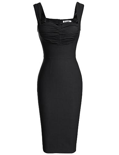 MUXXN Women's Sleeveless Vintage Strap Slim Cut Pencil Dress