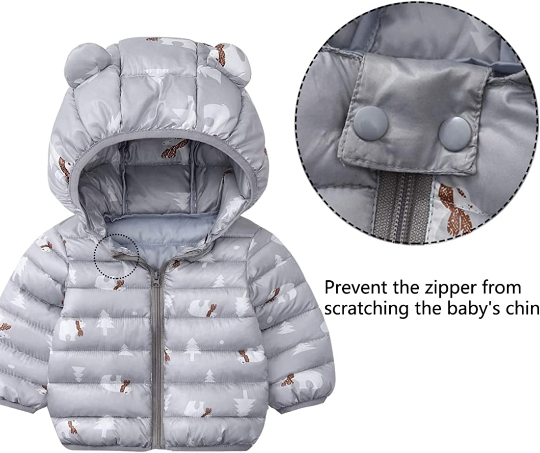 FEOYA Baby Boys Girls Winter Coat with Hoods Warm Puffer Jacket for Toddler Kids