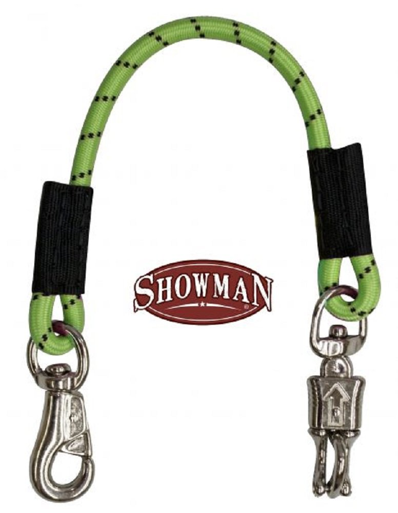 Showman 24'' Lime Green Bungee Trailer Tie With Quick Release Panic Snap And Heavy Duty Bull Snap