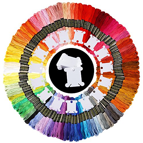 Caydo 100 Skeins 100 Color Embroidery Floss Rainbow Color Cross Stitch Thread with 24 Pieces Floss ()
