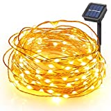 Boomile Waterproof Solar String Lights 8 Modes 100 LEDs 33ft Copper Wire Lights Starry Fairy String Lights Ambiance Lighting for Outdoor Landscape, Patio, Garden, Christmas Party, Wedding