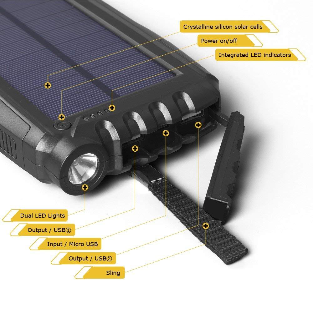 Soluser Cargador Solar Port/átil con 25000mAh Bater/ía Externa Solar Bater/ía de Emergencia Cargador Solar con 2 Puertos USB y Fuerte Antorcha LED para Smartphones Samsung iPhone y Tablet
