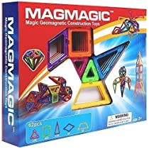Magmagic Building Block Magnetic Toys, 62 Piece Designer Creativity Theme Kit, Preschool Skills Educational Game Construction Stacking Sets