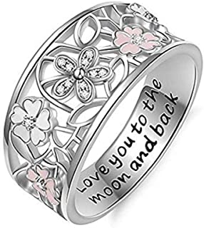 Noopvan 1 Pcs Cherry Blossom Diamond Ring Fashion Elegant Letter Love You to The Moon and Back Crystal Ring Wedding Jewelry for Women (7)