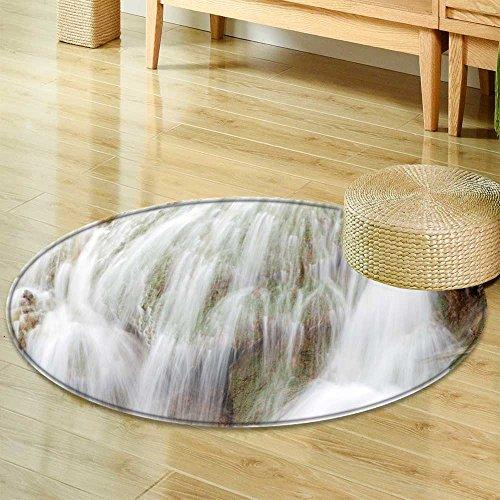 Small round rug Carpetgolden water fall flowing water around golden rocks door mat indoors Bathroom Mats Non Slip-Round ()