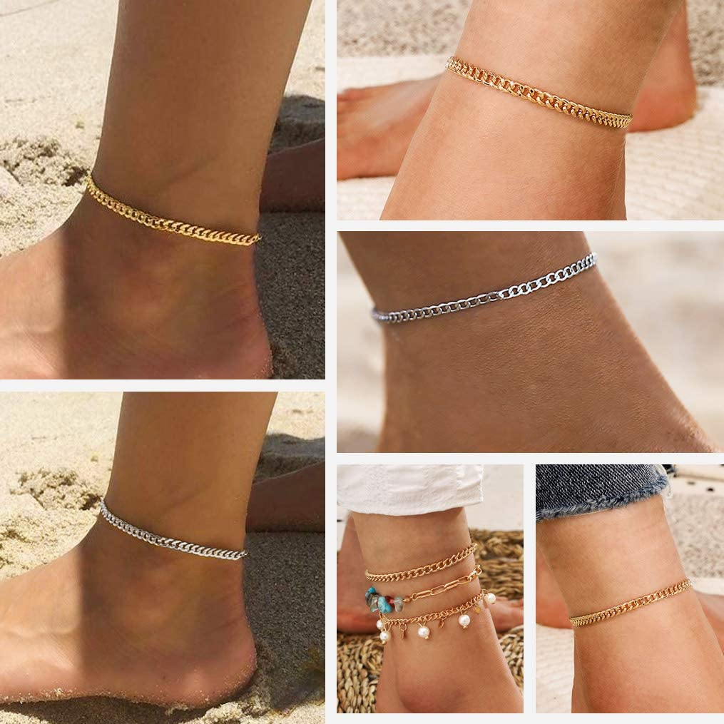 bandmax 316L Stainless Steel Charm Summer Anklet Chain for Women Girl Waterproof Adjustable 8.5//9 Inch Figaro//Twist Rope//Cuban Foot Chain Bracelet for Beach Sandals Extender Jewelry 18K Gold Plated
