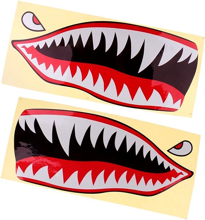 MagiDeal 2 Piezas Tiburón Dientes Boca Ojos Calcomanías Pegatinas Kayak Barco Pesca Gráficos Accesorios: Amazon.es: Deportes y aire libre