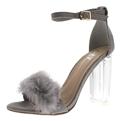 0961c433ac5 Viva Womens Fluffy Glass Block Heel Party Cut Out Fashion High Heels Pumps  - Grey KL0282G