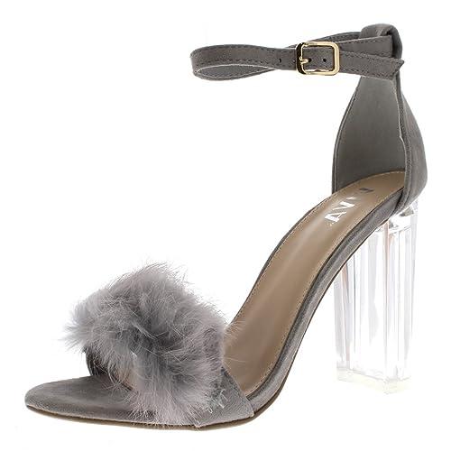 Viva Mujer Mullido Glass Bloquear el Talón Fiesta Separar Moda Tacones Altos  Zapatillas  Amazon.es  Zapatos y complementos 07cab349eecb