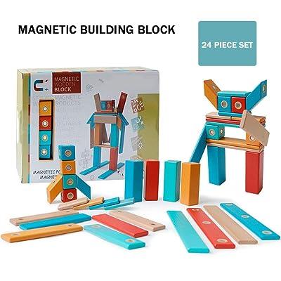 QPP-CL Bloques De Construcción Magnéticos Bloques De Madera Juguetes Educativos Magnéticos De Madera para Niños Educación Infantil Regalo De Cumpleaños De Navidad,24: Deportes y aire libre