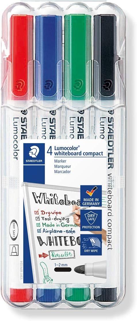 STAEDTLER Lumocolor 341 WP4. Rotuladores de colores para pizarra blanca. Estuche de 4 unidades, Más Colores: Amazon.es: Oficina y papelería