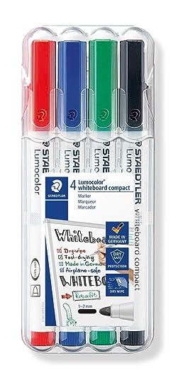Staedtler Lumocolor 341 WP4. Rotuladores de colores para pizarra blanca. Estuche de 4 unidades.