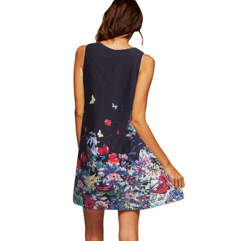 LOMONER Vintage Foral Dress Bobo Dresses for Women Vintage Boho Women Summer Sleeveless Beach Printed Short Mini Dress