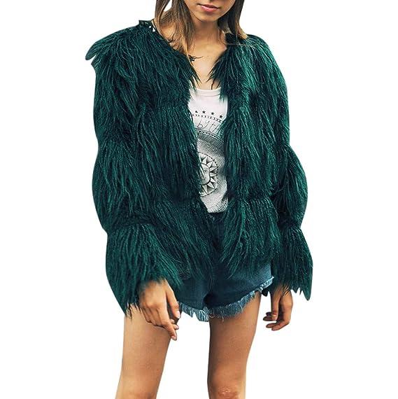 c61c6849c15f Felicove Damen Mantel, Damen Strick Parka O-Ausschnitt Outerwear Basic  Sweatjacke Kunstpelz Weich Mäntel