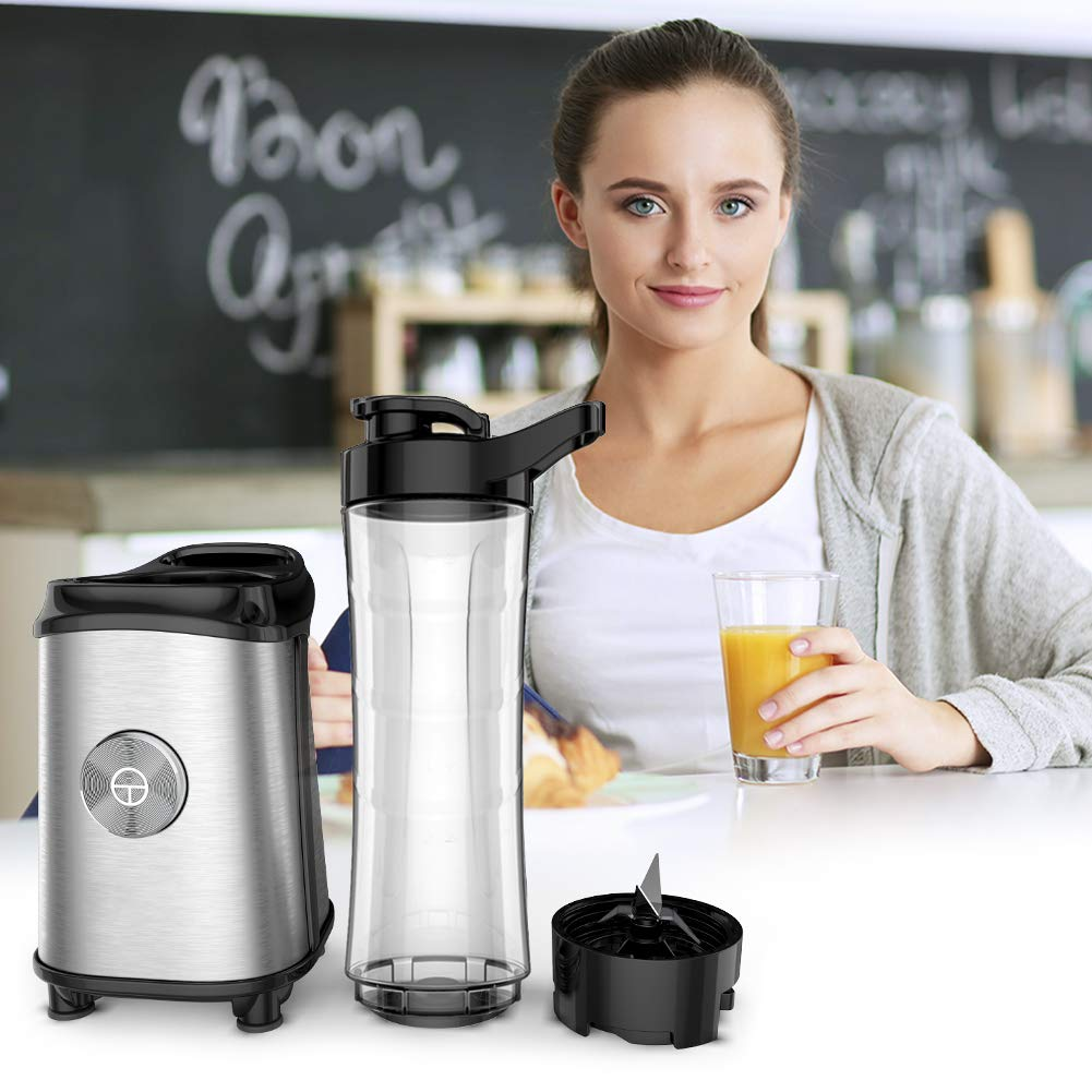 Personal Blender for Shakes and Smoothies - Powerful Drink Mixer with 20 Oz To Go Bottle, Single Use Juicer with Easy One Touch Operation, Great for Sports, Travel, Gym and Office (with Silicone Ice Cube Tray & Bottle Brush) by Gloridea (Image #6)