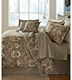 Noble Excellence Paseo Distressed Medallions 4 Piece Full/Queen Comforter Set - Bundle - Brown Teal