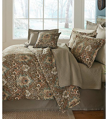 Noble Excellence Paseo Distressed Medallions 4 Piece Full/Queen Comforter Set - Bundle - Brown Teal by Noble Excellence