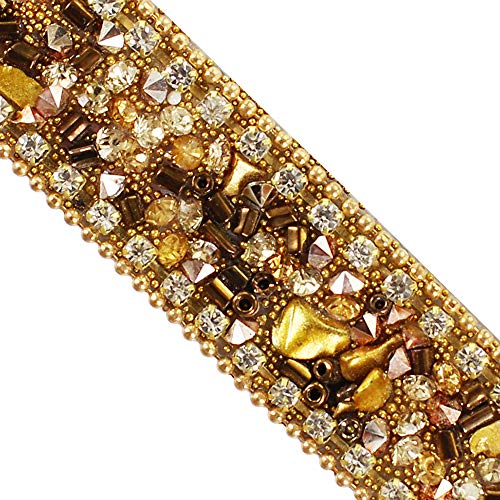 - Brown Gold Hot fix Rhinestones Trim Chain Crystal Iron on Applique Trimming for Collars Sewing Accessories 5yards