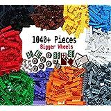 Dreambuildertoy building bricks 1040 pieces set, 1000 basic building blocks in 10 popular colors,40 bonus fun shapes includes wheels, doors, Windows, compatible to all major brands