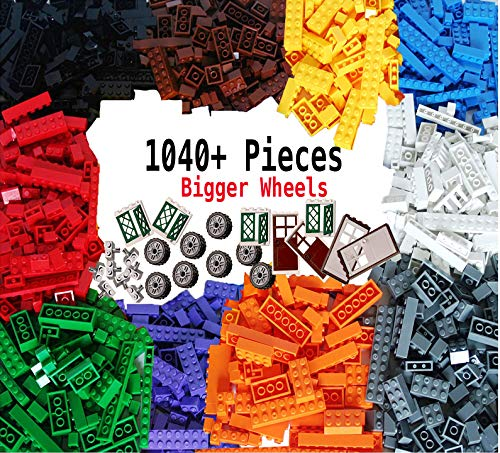 DreambuilderToy Building Bricks 1040 Pieces Set, 1000 Basic Building Blocks in 10 Popular Colors,40 Bonus Fun Shapes Includes Wheels, Doors, Windows, Compatible to All Major Brands ()