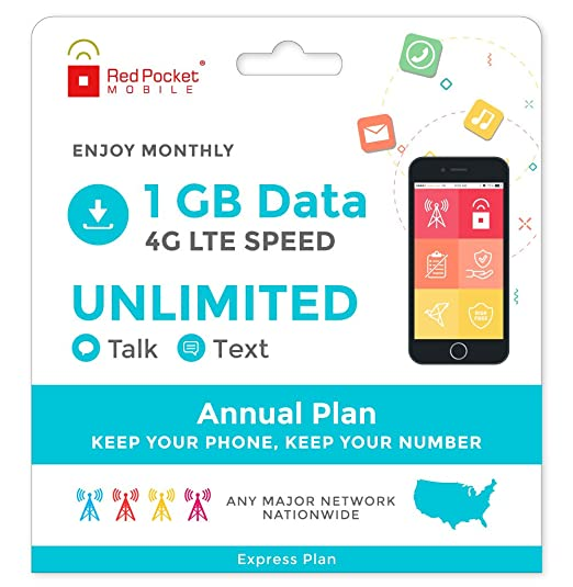 Red Pocket Mobile Express 360 Day Prepaid Phone Plan, No Contract, Free SIM  Kit