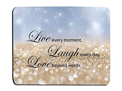 Glitter Mouse Pad Sky Blue Sparkle Quote Live Love Laugh Customized  Rectangle Non-Slip Rubber Mouse pads Gaming Mouse Pad