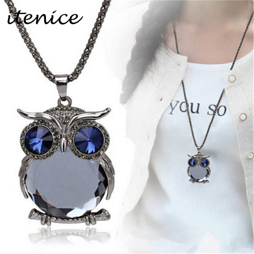 Farsla Owl Pendant Women Sweater Chain Necklace Crytal Long Chain Necklace For Womens Girls