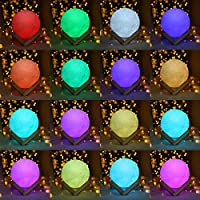 Moon Lamp, ALOVECO 3D Printed 16 Colors RGB Moon Light with Remote Control, Dimmable USB Rechargeable LED Lunar Moon Night Light with Stand for Kids Women ...