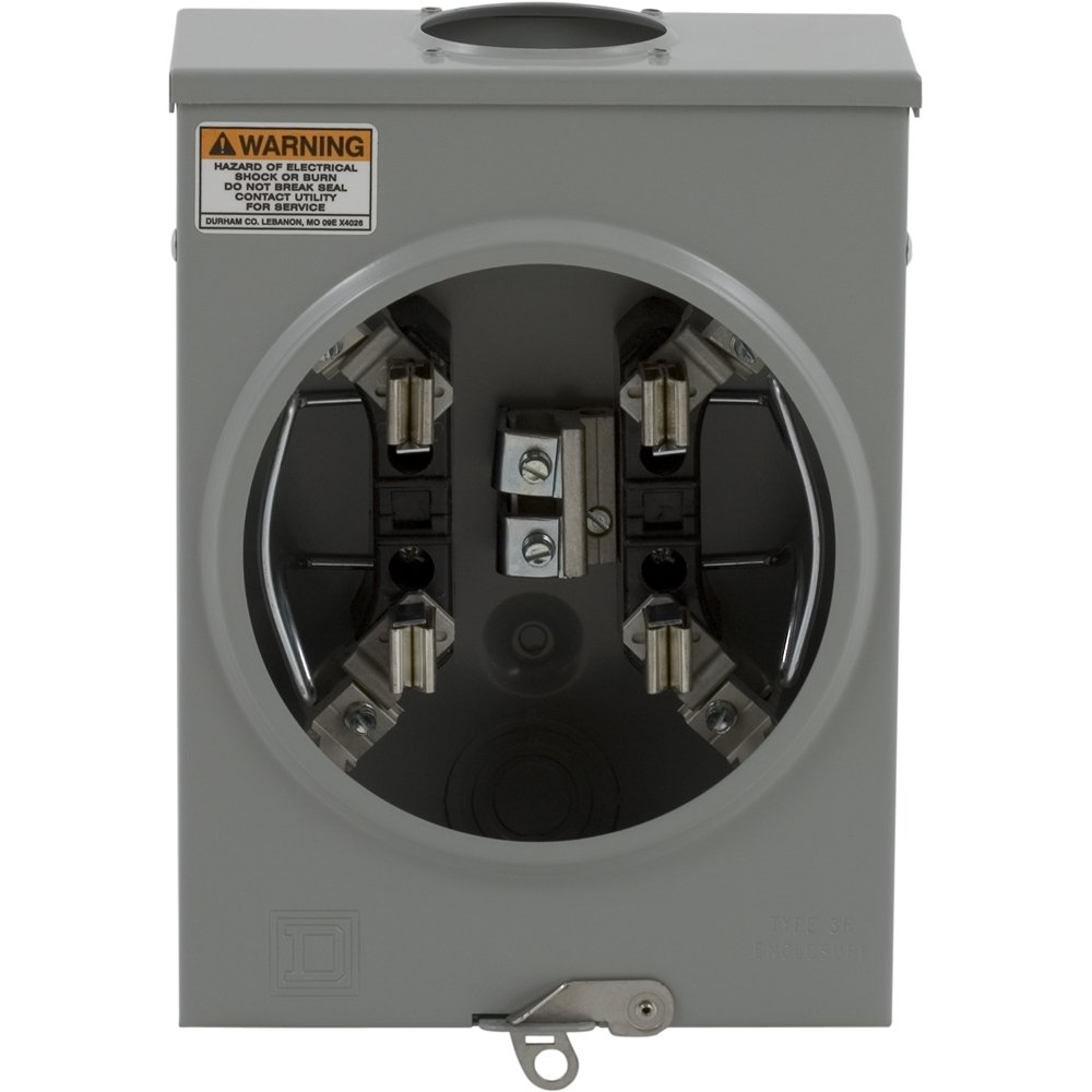 Square D by Schneider Electric 1004162A 100A Overhead/Underground Individual Meter Socket With No Bypass