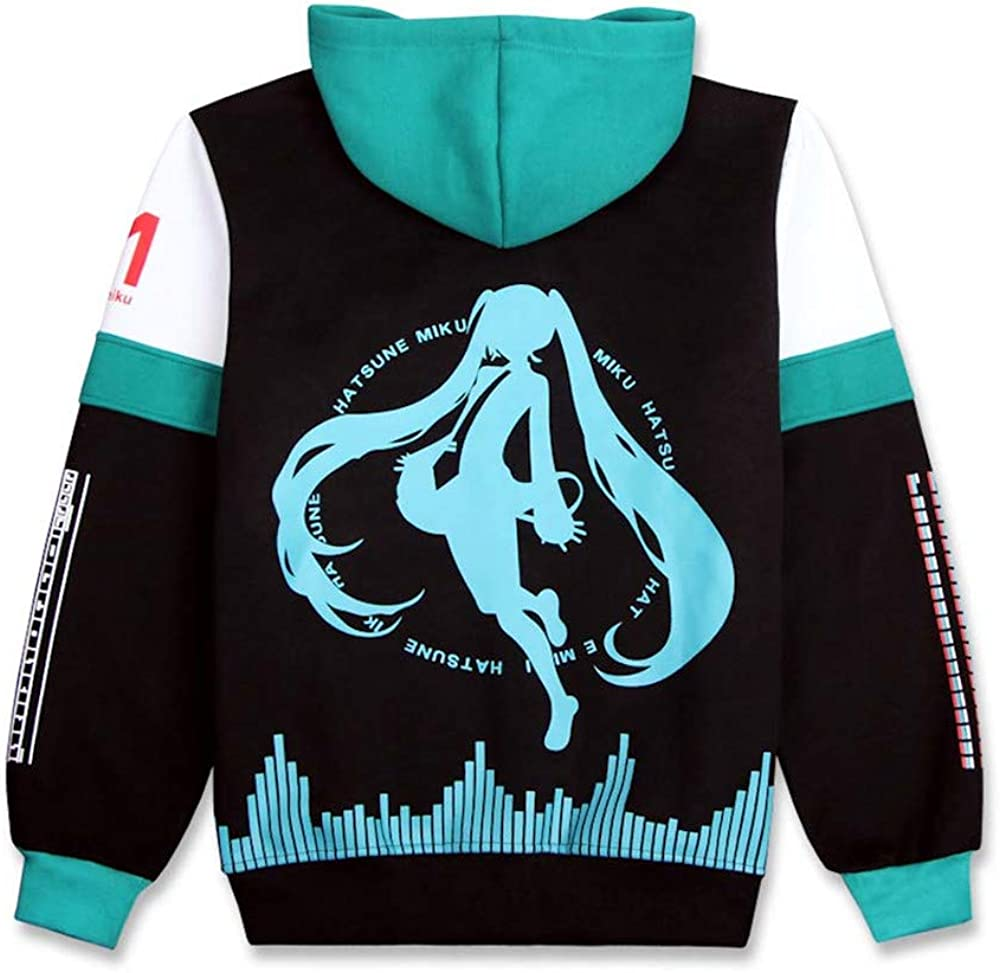 Deguisement Project Diva Hatsune Miku Anime Sweats /à Capuche Hoodie Jacket Zipp/é Adulte Cosplay Outwear Sweatshirt Manteau Veste
