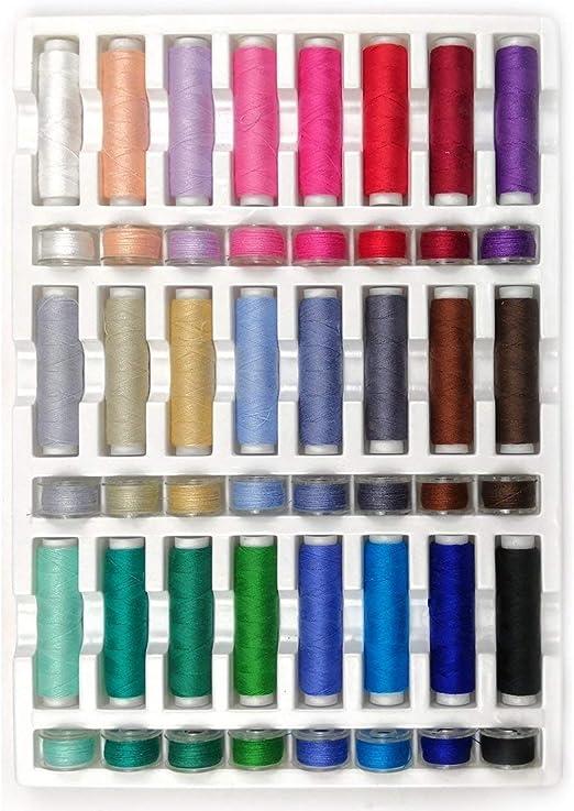 40 WT100 % algodón, 24 bobinas de hilos surtidos y 24 agujas de ...