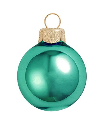 40ct shiny teal green glass ball christmas ornaments 125 - Teal Christmas Ornaments