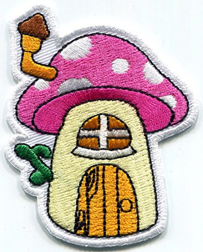 Embroidered Cottage - Elves mushroom cottage elf house embroidered applique iron-on patch S-1472