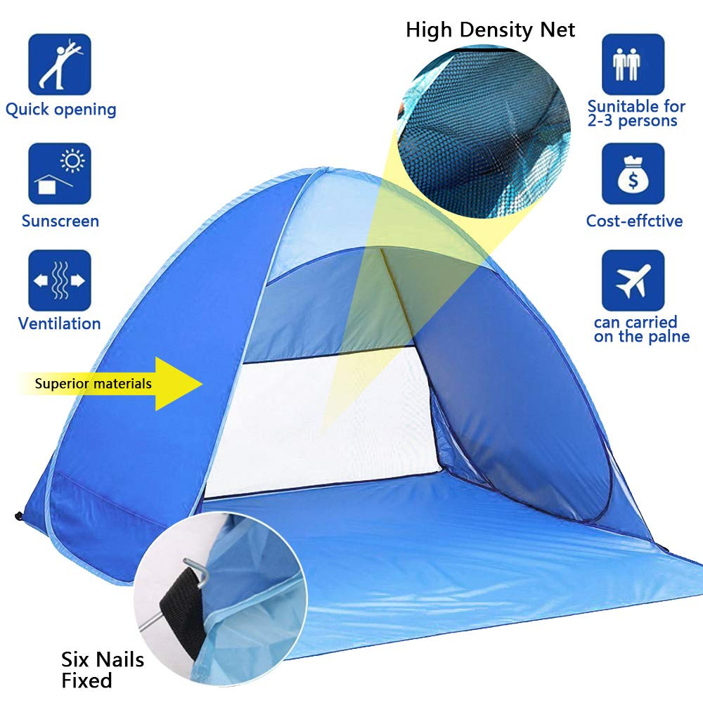 for 2-3 Person MOGZZi Pop Up Tent Automatic Beach Tent Outdoor Sun Shelter Portable Cabana UV Protection Baby Tent for Family Garden//Camping//Fishing//Beach Times
