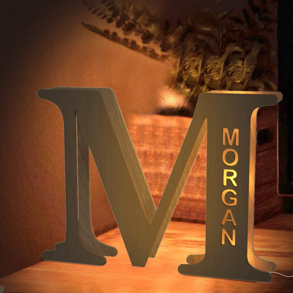 Custom LED Night Light, Personalized Wood Letter Wall Light Engraved Name Letter Lamp Home Decor Gift for Kids Girlfriend Boyfriend Mom Families Christmas Birthday Wedding Wall Room Bedside Decor - M