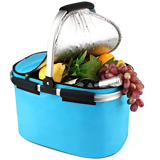 YONOVO 22 L Folding Picnic Basket Insulated Cooler Bag for Family Gathering Camping Travel BBQ (SkyBlue)